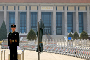 PLA guard and security barriers outside Mao's Mausoleum.