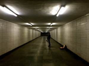 Zhu Wenbo practices his saxophone in a lonely pedestrian underpass beneath the eight lane airport expressway. He told me the acoustics were perfect there.