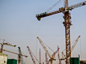Tower cranes dominate the skyline of nearly every Chinese city.