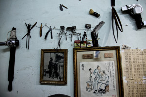 Hairdressers decor in an old barber shop in the Hutong district.